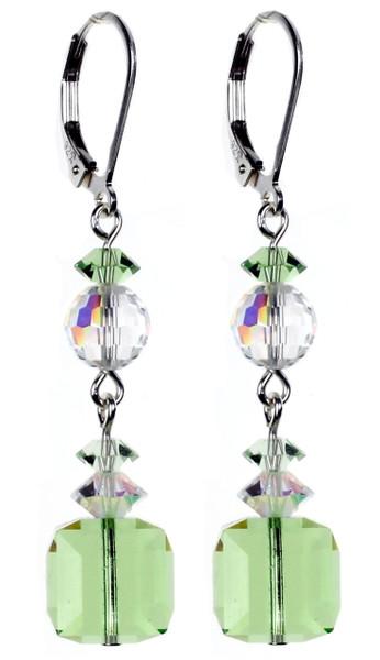 Square Peridot Dangle Earrings - August Birthstones
