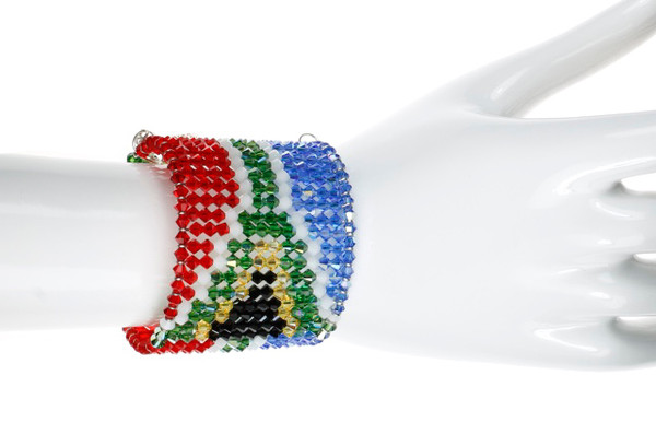 South Africa Cuff Bracelet. Flag of South Africa Pattern.