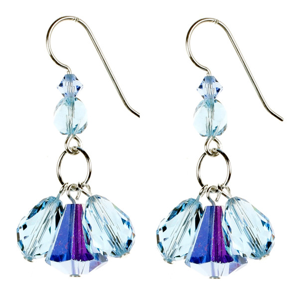 Blue Triple Drop Earrings