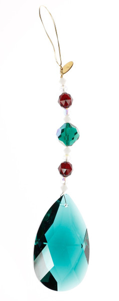 STRASS Swarovski Crystal Emerald & Red Christmas Ornament / Sun Catcher