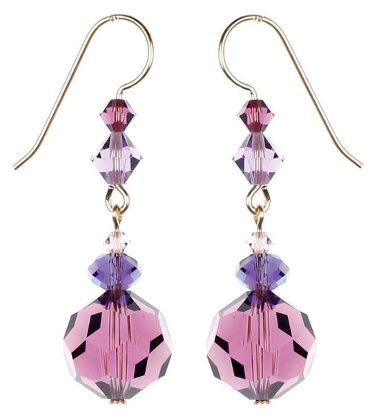 Round Purple Dangle Earrings