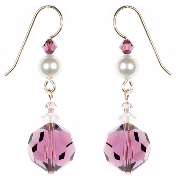 Round Purple and Pearl Earrings