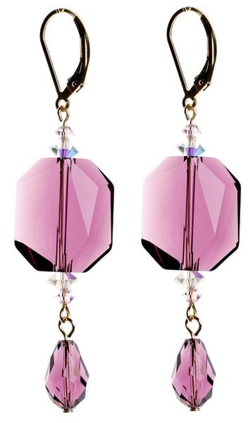 Large Purple Crystal Earrings