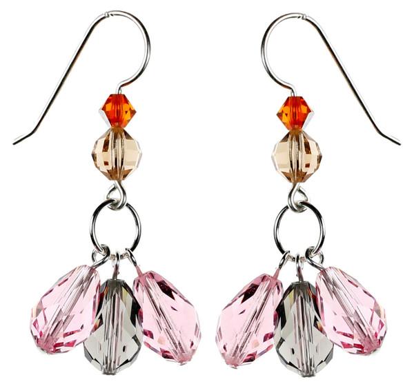 Pink and Grey Dangle Earrings