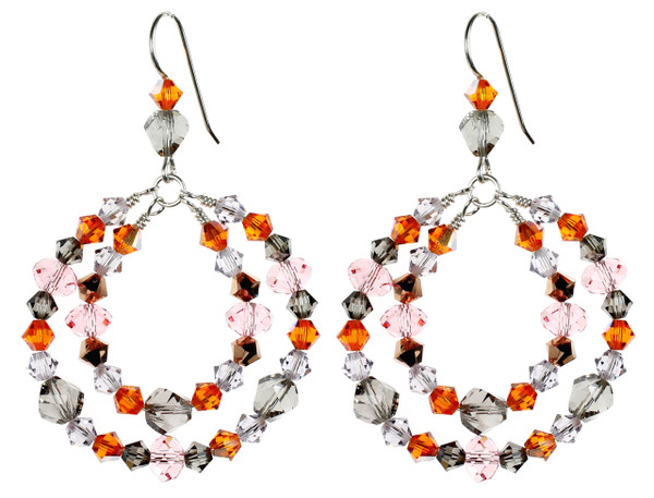 Colorful Double Hoop Earrings - Arctic Sunset