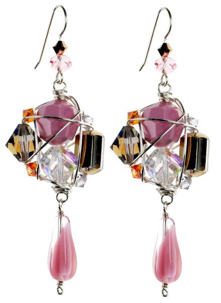 Pink Crystal Statement Earrings