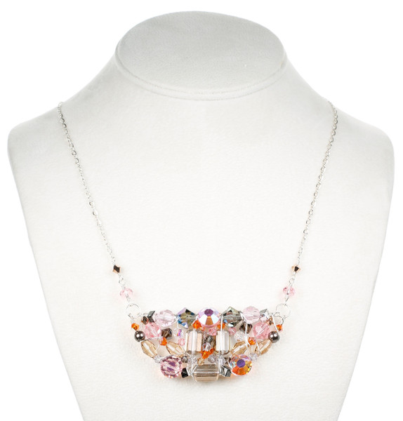 one of a kind necklace with crystal and silver by Karen Curtis