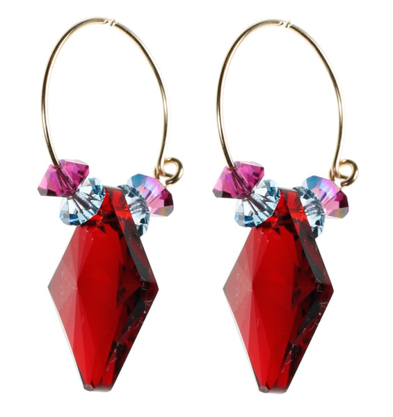 Bright Red Crystal Hoop Earrings