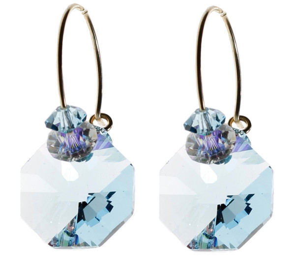 14k Gold filled Swarovski Crystal Aquamarine Hoop Earrings - Aqua - March Birthstone
