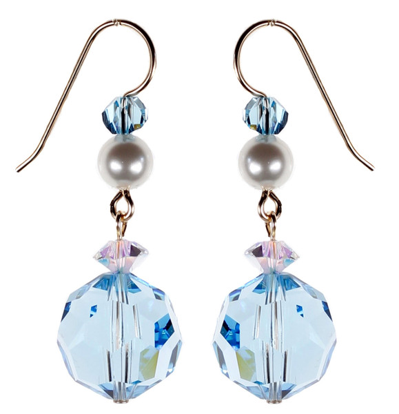 Round Blue Crystal Earrings - March Birthstone