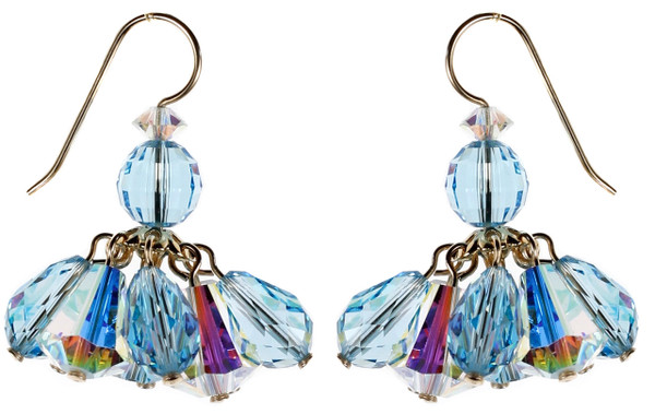 Blue Crystal Cluster Earrings - March Birthstone