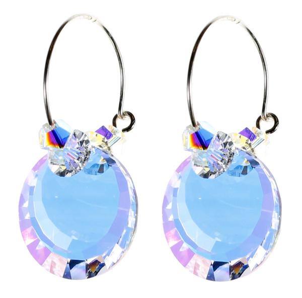 Sterling Silver Swarovski Crystal Vintage AB Hoop Earrings - April Birthstone