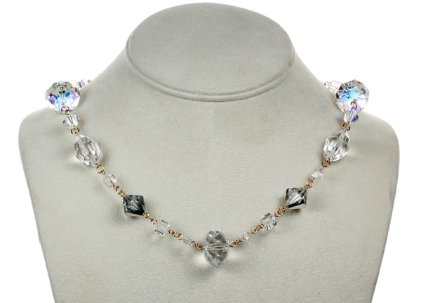 """14k Gold Filled Swarovski Crystal 18"""" Classic Chunky Necklace - Crystal Collection"""