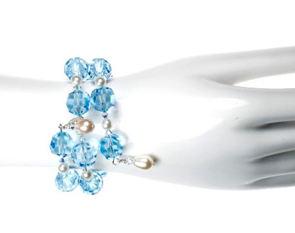 Limited Edition Aqua Blue 14mm Swarovski Crystal and Pearl Bangle Bracelet - Something Blue