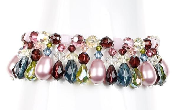 Crystal and Pearl Statement Bracelet - Botanical