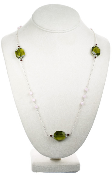 Long Lime Green and Silver Necklace - Botanical