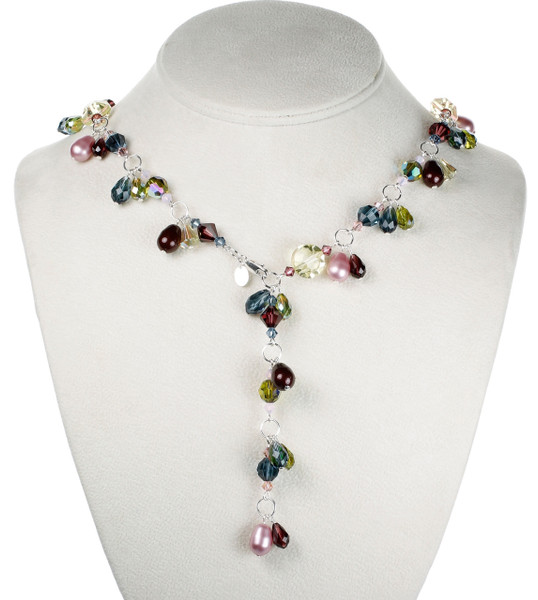 Crystal Double Drop Necklace - Botanical Jewelry