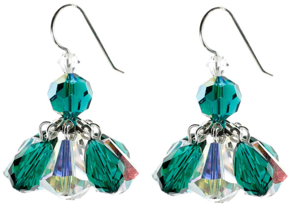 Green and Clear Cluster Earrings - May Birthstone