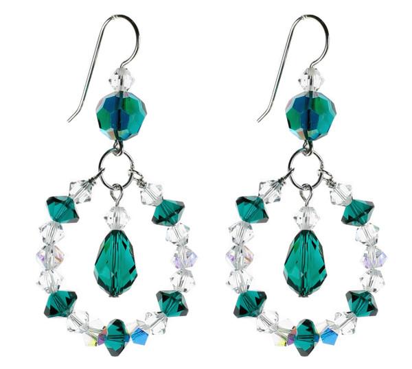 Green & Clear Hoop Earrings w Drop - May Birthstone