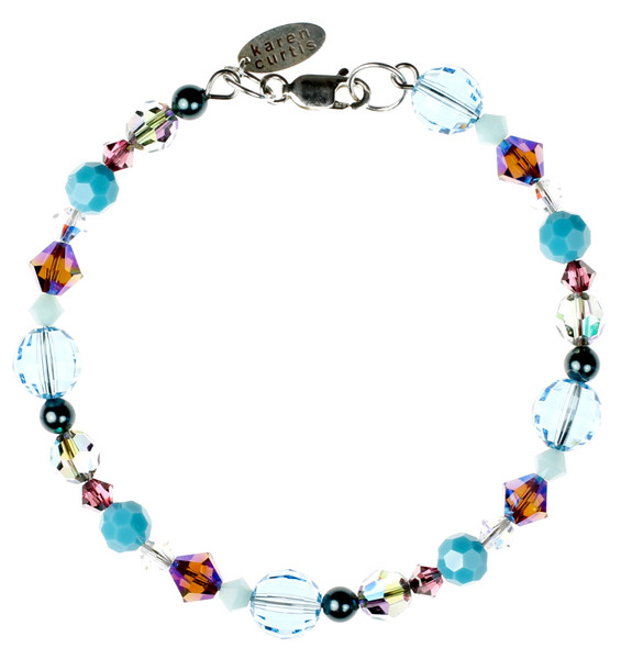 Blue and Purple Crystal Bracelet made with Swarovski Crystal