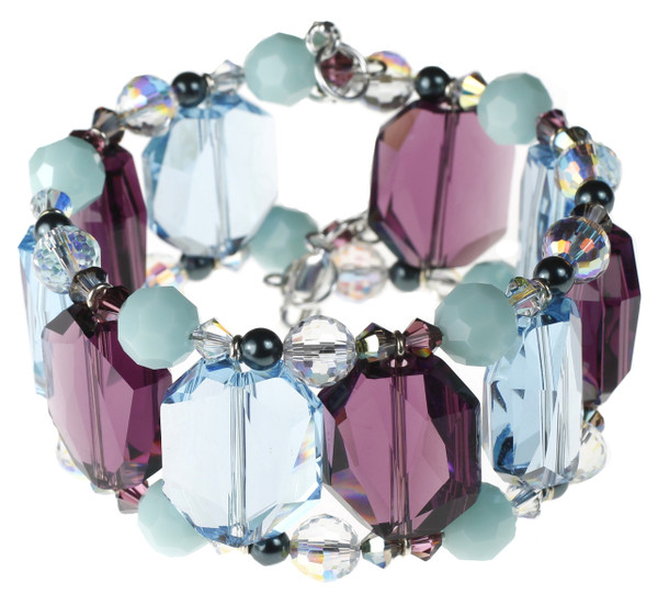 Colorful Purple and Blue Swarovski Crystal Cuff Bracelet. Fine Metal and Rare Crystal