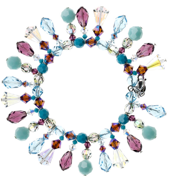 Colorful Statement Bracelet with many Vintage Crystals from Swarovski made with Sterling Silver