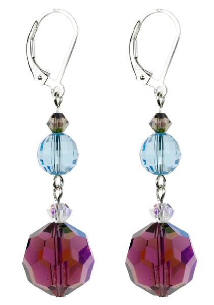Bright Purple Amethyst Crystal Earrings on Sterling Silver