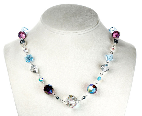 Crystal Necklace with Amethyst and Aqua Blue Swarovski and Sterling Silver