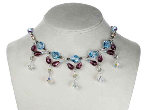 Simply Elegant Crystal Necklace with Complicated design and Vivid Color Composition.