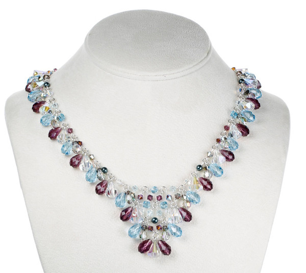 The most elaborate Necklace from the Collection. Made of Aqua and Amethyst Swarovski and Sterling Silver.