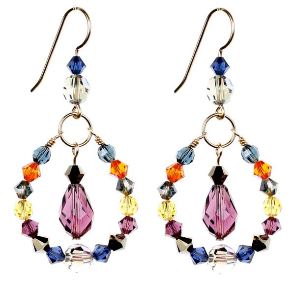 Colorful Hoop Earrings with Drop - City Nights