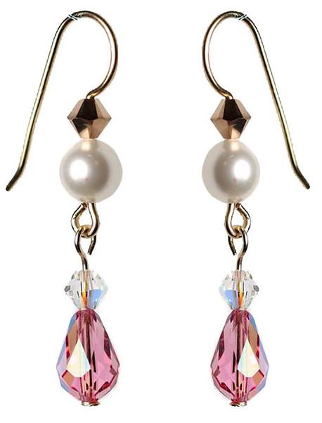 Pink crystal droplet earrings handmade with 14K gold filled metal
