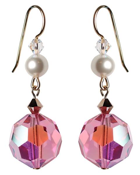 Vintage Pink Crystal Drop Earrings