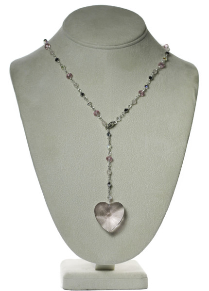 Soft Pink Crystal Heart Necklace