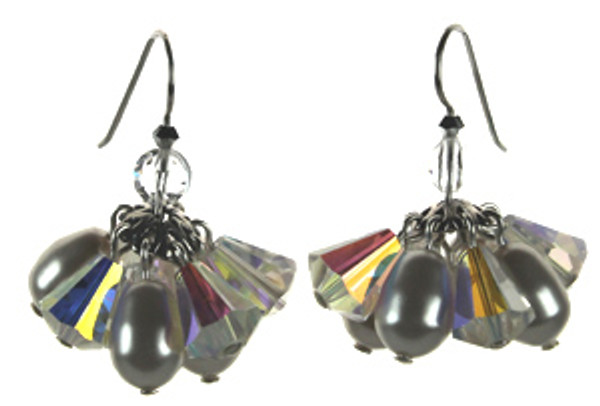 Cluster Earrings Made with SWAROVSKI ELEMENTS on sterling silver. Short but full designs displays many overlapping crystals