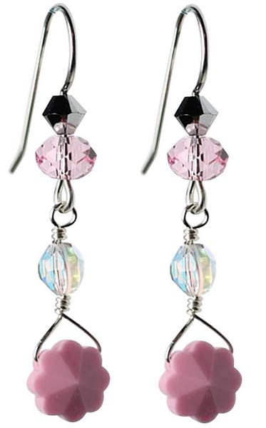 opal pink flower earrings