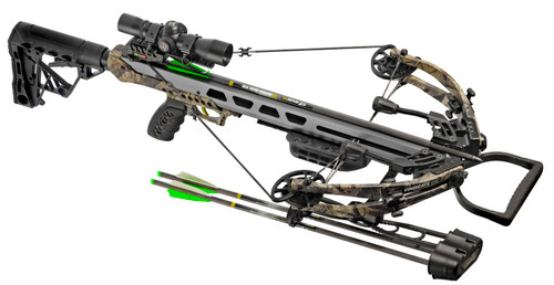 SYKD Hunt Vindicate XVC Crossbow Package with Bolts, Cocking Aid, and Accessories. Shown with quiver attached.