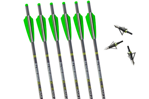 SYKD Hunt 20-Inch Universal Crossbow Bolts with Half Moon Nocks and Endurance Broadheads Combo Pack
