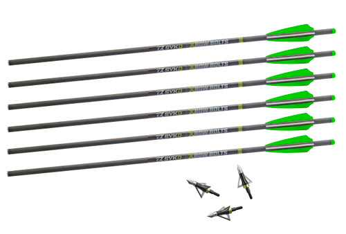 SYKD Hunt 22-Inch Universal Crossbow Bolts with Half Moon Nocks and Endurance Broadheads Combo Pack