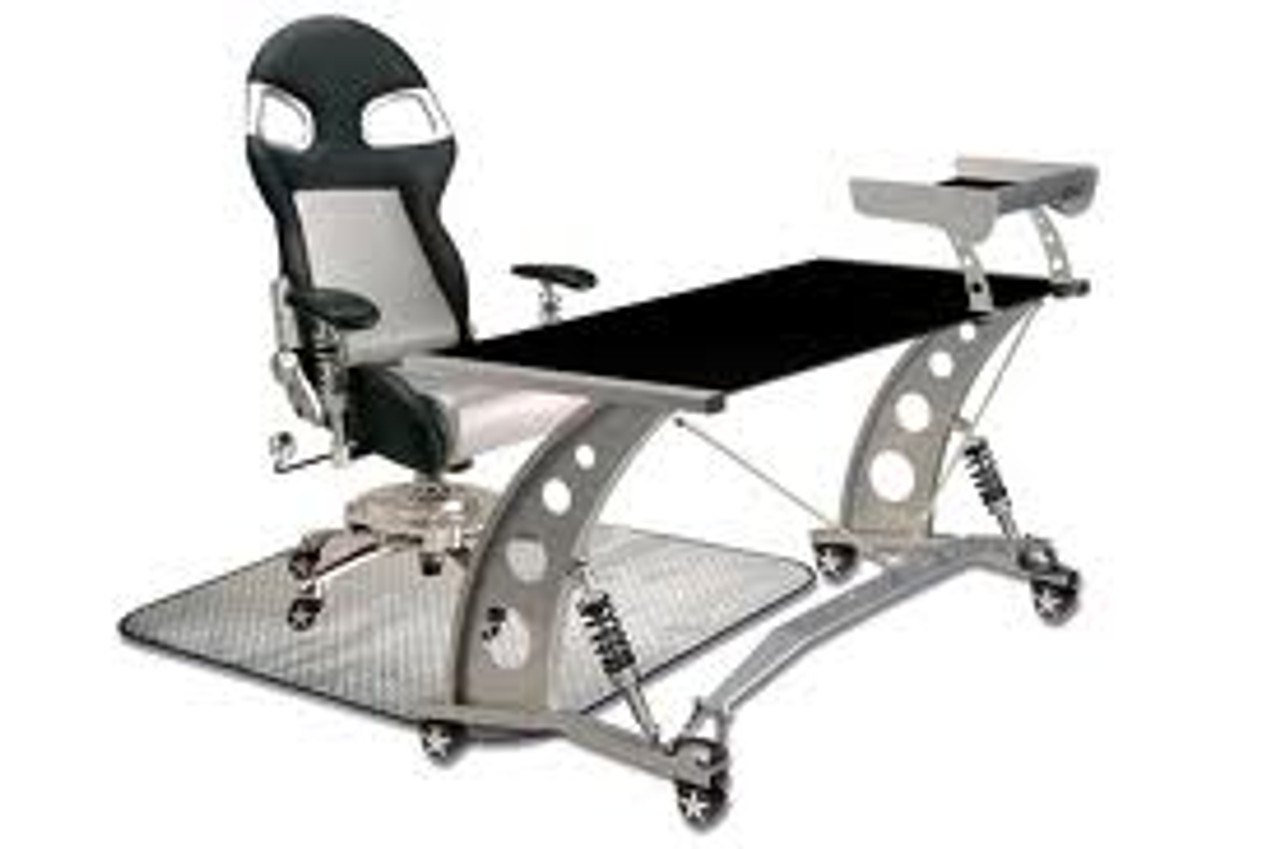 PitStop Furniture - Formula One Black Desk Set - Shown here with the Silver on Black F1 Chair (includes floor mat)