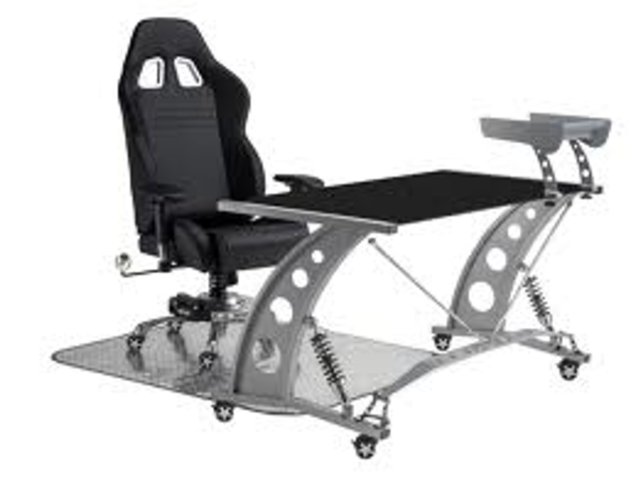 PitStop Furniture - Formula One Black Desk Set - Shown here with the Black on Black F1 Chair (includes floor mat)