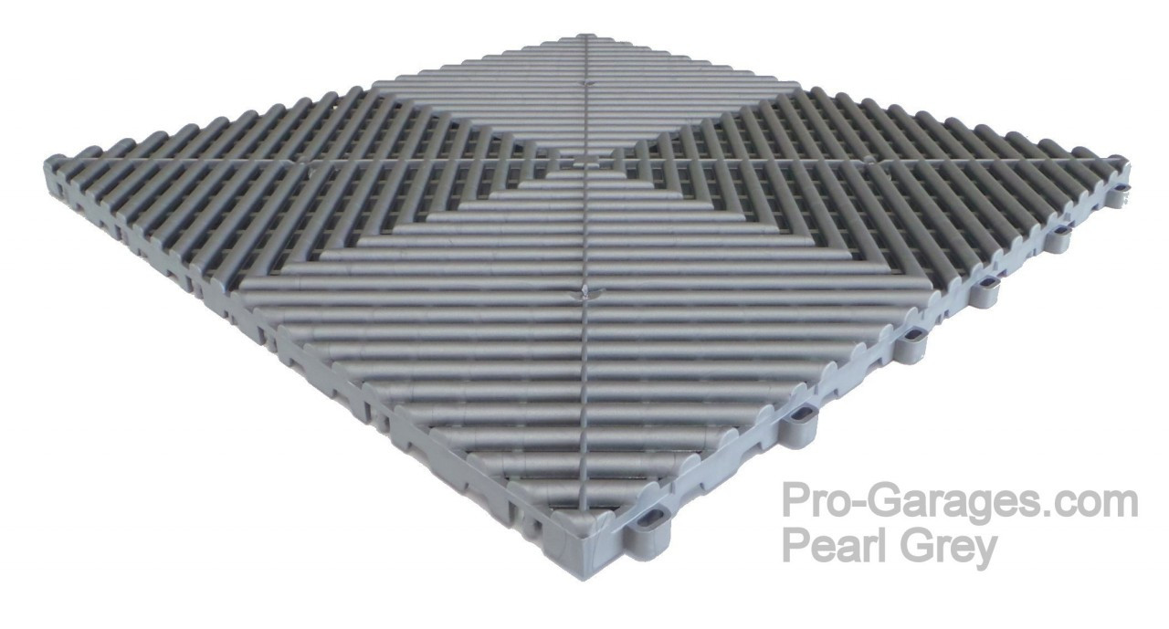 "Ribtrax ""Pearl Grey"" SALE PRICE ONLY $3.96 PER SQ FT Tile Size: 15 3/4"" x 15 3/4"" (1 Tile = 1.72 sq ft)"