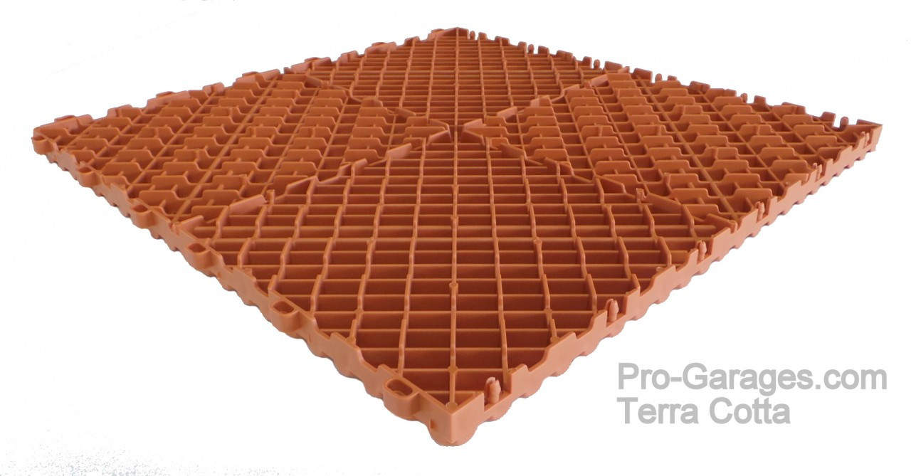 """Ribtrax Pro SPECIAL """"Terra Cotta""""  Tiles (6-Pack) SALE PRICE ONLY $5.05 PER SQ FT Tile Size: 15 3/4"""" x 15 3/4"""" (1 Tile = 1.72 sq ft)"""