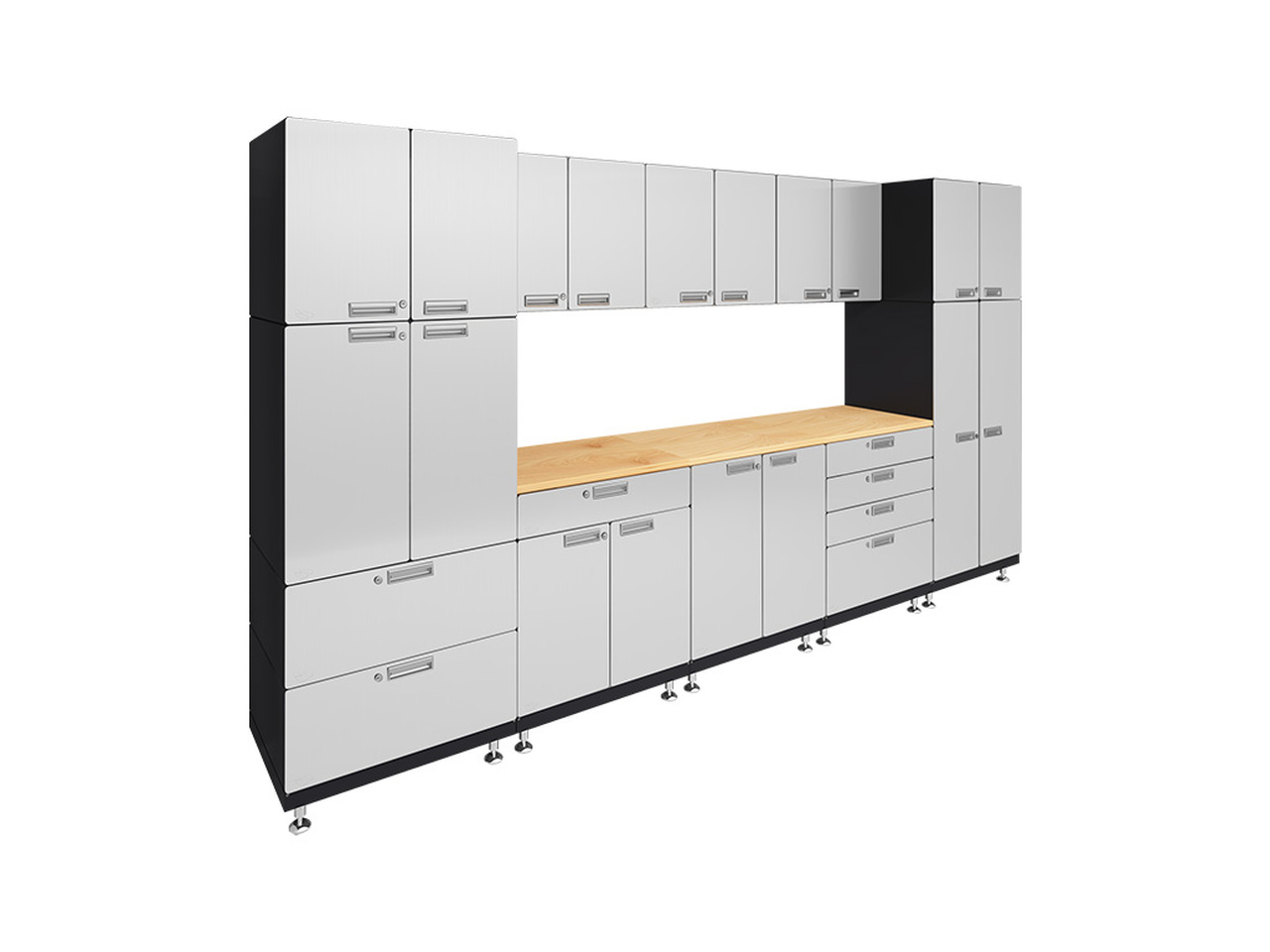 "Kit 1 – Double Work Center Garage Cabinet System | 24""D x 150""W x 84""H"