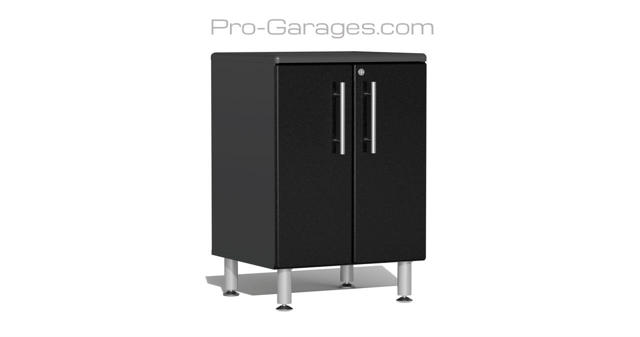 """Ulti-MATE Garage 2.0 Series takes the back-to-back Consumers Digest awarded """"Best Buy"""" cabinet line features to the next level. This 2-door oversized base cabinet offers strength and contemporary style to separate your project from the crowd. Metallic gloss car-like color facing, radius profile, wall mount and feet options, industrial strength 1"""" thick shelf, soft-close hinges and unique integrated recessed worktop are a few features that will exceed the demands of any project."""