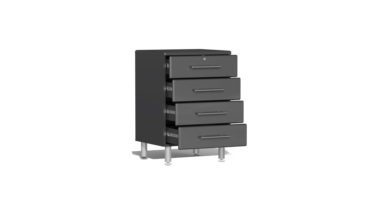 """Ulti-MATE Garage 2.0 Series takes the back-to-back Consumers Digest awarded """"Best Buy"""" cabinet line features to the next level. This 4-drawer oversized base cabinet offers strength and contemporary style like no other line in marketplace. Metallic gloss car-like color facing, radius profile, wall mount and feet options, full extension ball bearing drawer glides and unique integrated recessed worktop are a few features that will make this the perfect solution for garages, workshops or business applications."""