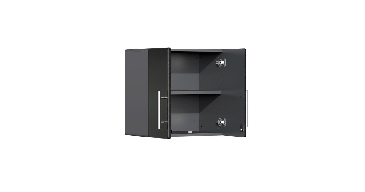 """Ulti-MATE Garage 2.0 Series takes the back-to-back Consumers Digest awarded """"Best Buy"""" cabinet line features to the next level. This 2-door space-saving wall cabinet offers industrial strength and contemporary style like no other line in the marketplace. Metallic gloss car-like color facing, radius profile, industrial strength 1"""" thick shelf and soft-close hinges are a few features that will exceed the demands in garages, workshops or business locations."""