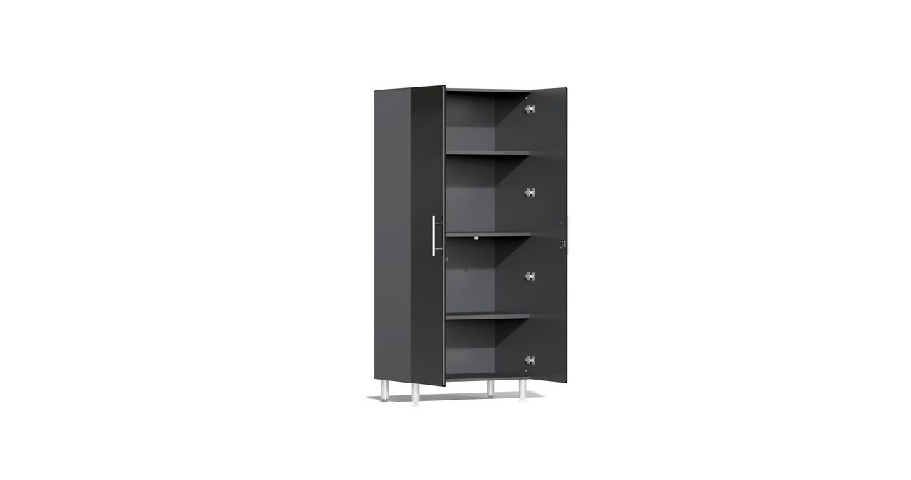 """Ulti-MATE Garage 2.0 Series takes the back-to-back Consumers Digest awarded """"Best Buy"""" cabinet line features to the next level. This 2-door jumbo tall cabinet offers industrial strength and contemporary style to get you clutter-free in a hurry. Metallic gloss car-like color facing, radius profile, industrial strength 1"""" thick shelves and soft-close hinges are a few features that will exceed the demands in garages, workshops or business locations."""