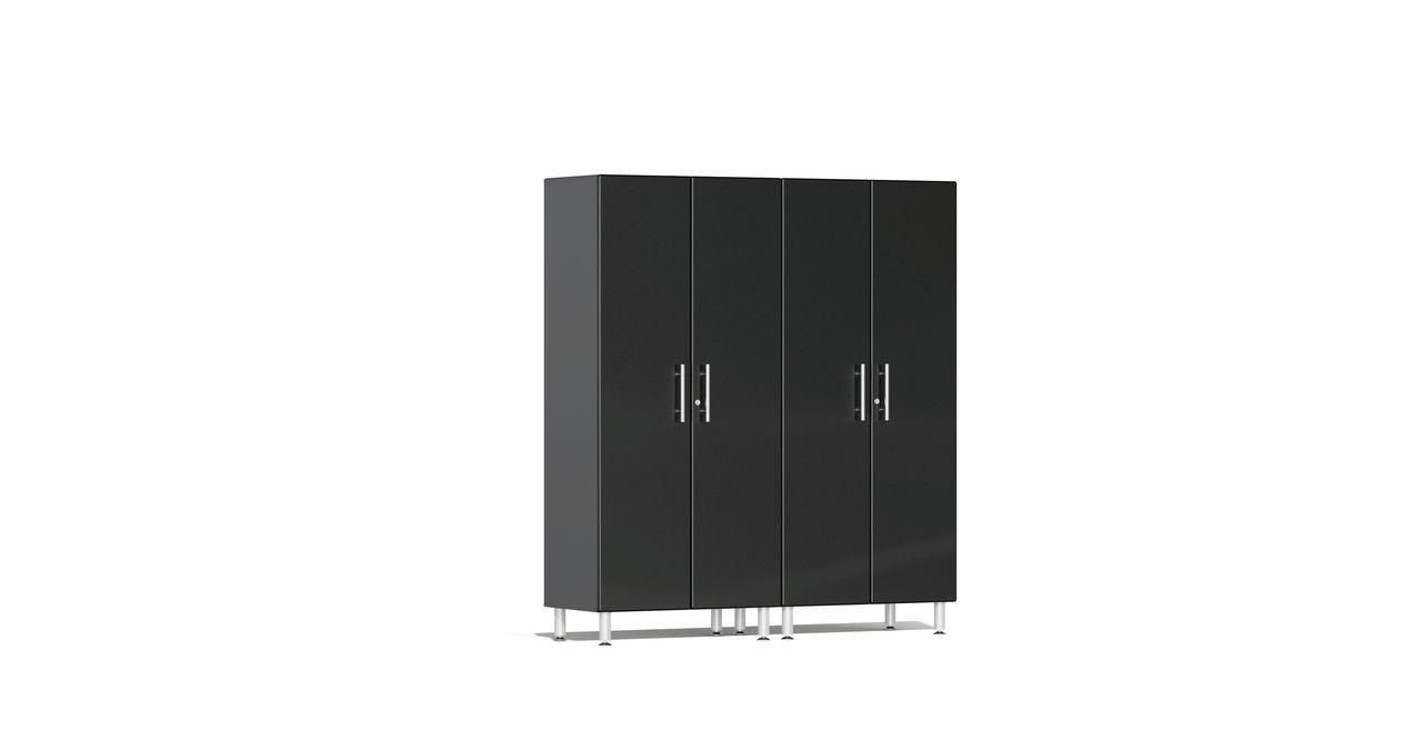 """Ulti-MATE Garage 2.0 Series takes the back-to-back Consumers Digest awarded """"Best Buy"""" cabinet line features to the next level. This two (2) piece 2-door tall modular cabinet kit offers oversized storage of nearly 6-ft to be used on single or multi-wall designs. Metallic gloss car-like color facing, industrial strength 1-inch thick shelves, radius profile, soft-close hinges and contemporary style like no other line will exceed any project demands in the garage or workshop."""