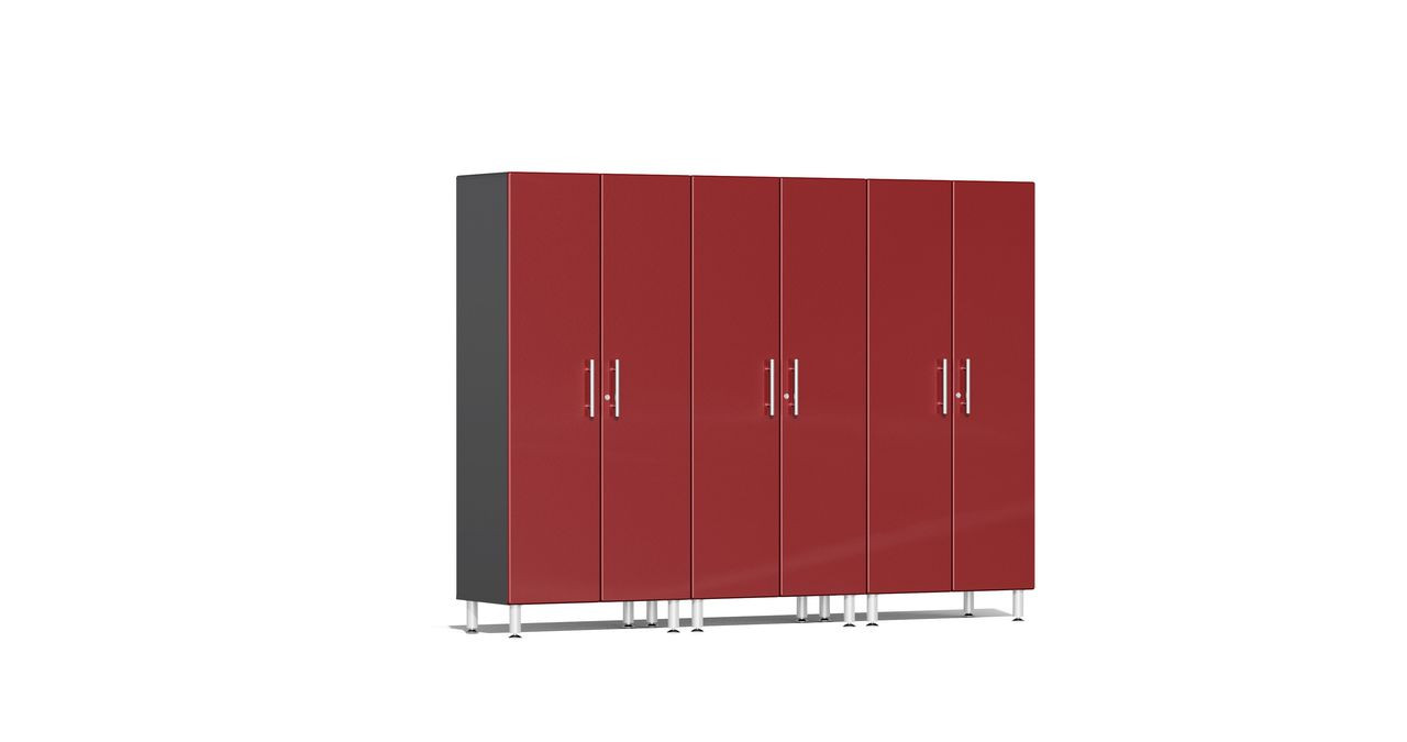 """Ulti-MATE Garage 2.0 Series takes the back-to-back Consumers Digest awarded """"Best Buy"""" cabinet line features to the next level. This three (3) piece 2-door tall modular cabinet kit offers oversized storage of nearly 6-ft to be used on single or multi-wall designs. Metallic gloss car-like color facing, industrial strength 1-inch thick shelves, radius profile, soft-close hinges and contemporary style like no other line will exceed any project demands in the garage or workshop."""